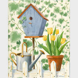 Blue Birdhouse and Tulips