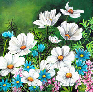 Blue Daisies and Cosmos