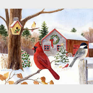 Cardinal, Chickadee and Christmas Barn