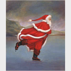 Father Christmas Skating on Duddingston Loch