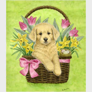 Puppy in Spring Basket