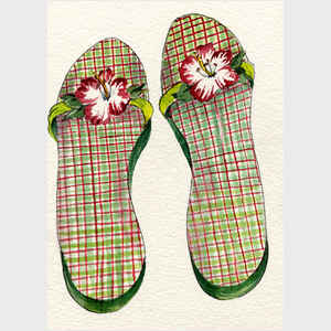 Red and Green Plaid Flip Flops