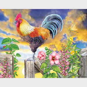 Rosiland Rosiland Solomon Roosters Greeting the Dawn